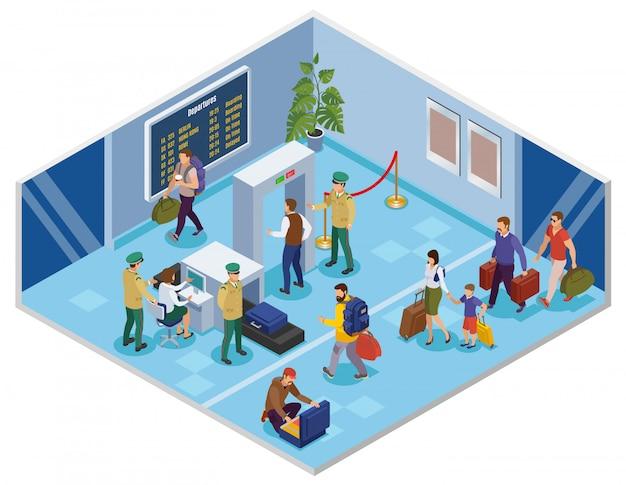 Viaggia isometrico con i passeggeri nel terminal dell'aeroporto passando la registrazione e l'ispezione di verifica preliminare Vettore gratuito