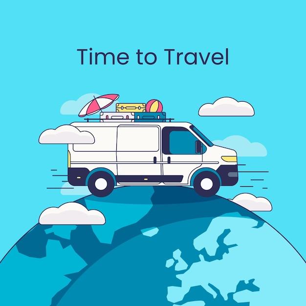 Viaggia sfondo con furgone sulla terra Vettore gratuito