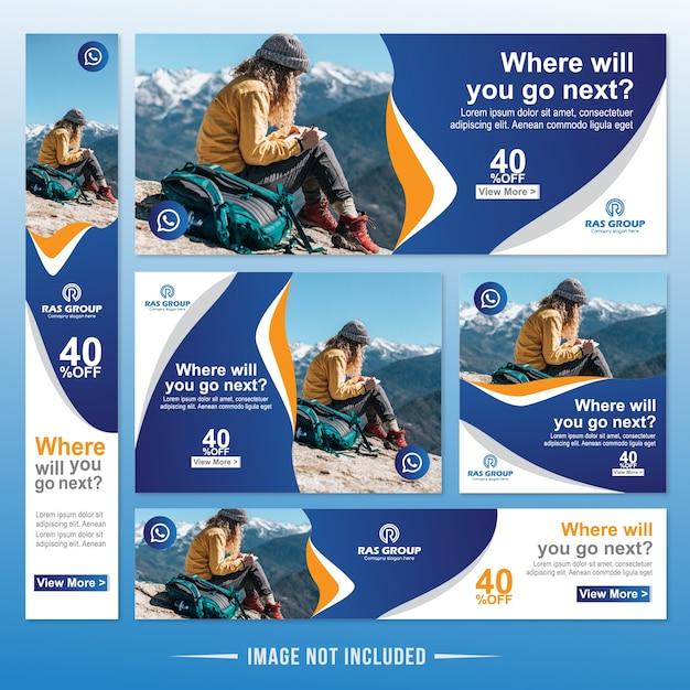 Viaggia web banner modello di annunci Vettore Premium