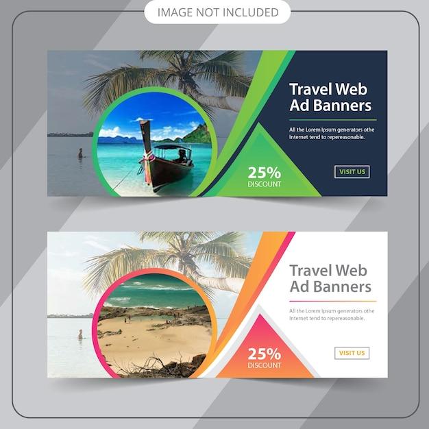 Viaggia web banner Vettore Premium