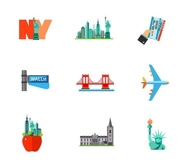 Viaggiare all'icona di new york Vettore gratuito