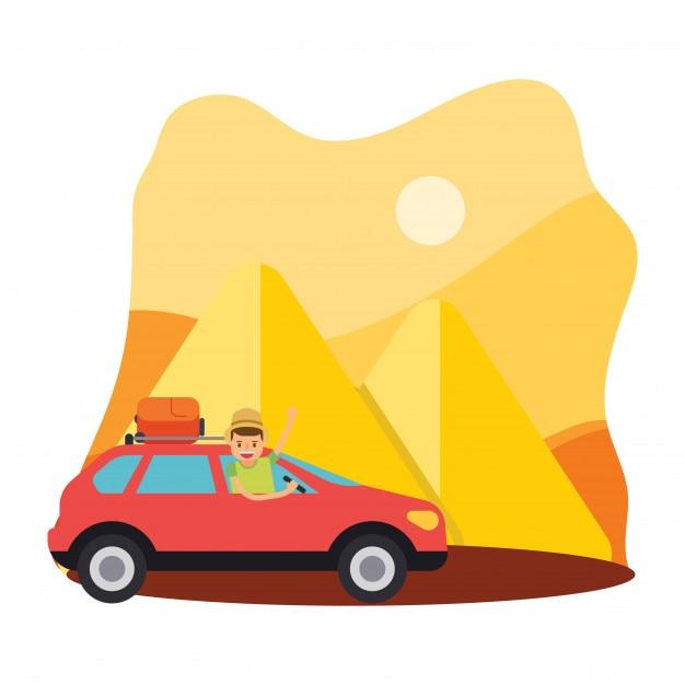 viaggiare auto viaggi vacanza sahara piramide calore Egitto personaggio dei cartoni animati Vettore Premium
