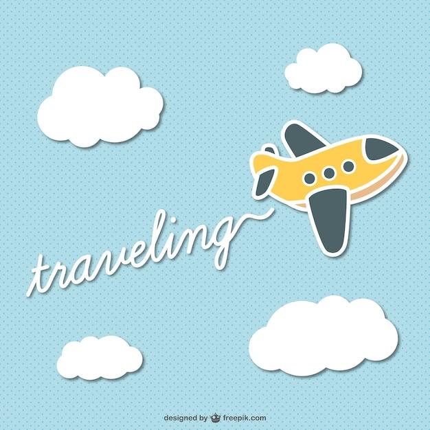Viaggiare cartone animato vettore aereo Vettore gratuito