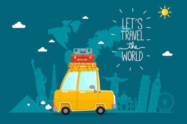 Viaggiare in macchina. viaggio nel mondo. pianificare le vacanze estive. tema del turismo e delle vacanze. Vettore Premium