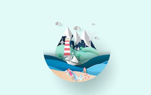 Viaggiare in vacanza estiva stagione estiva Vettore Premium