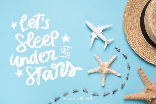 Viaggiare lettering con sfondo di foto Vettore gratuito