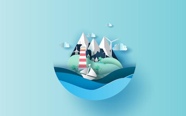 Viaggiare nel concetto di stagione estiva vacanza vacanza Vettore Premium