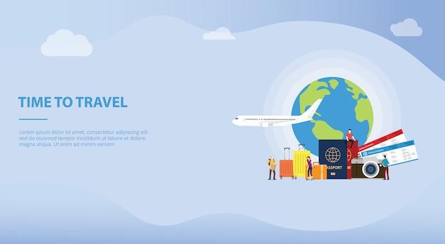 Viaggiare o viaggiare concetto di vacanza con il turista e l'aereo per il modello di sito web o home page di destinazione Vettore Premium