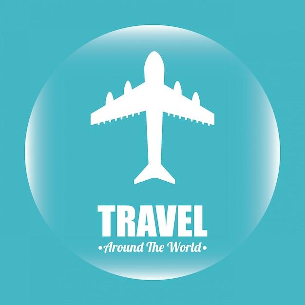 Viaggiare sopra l'illustrazione blu Vettore gratuito