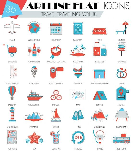 Viaggiare, viaggiare, viaggiare icone linea piatta Vettore Premium