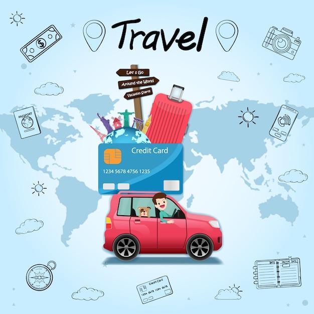 Viaggiatore del fumetto dell'automobile di tiraggio della mano di scarabocchio con fumo e l'asset della carta di credito viaggiano intorno al mondo. Vettore Premium