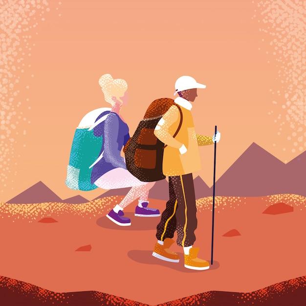 Viaggiatore di coppia nel personaggio di avatar di paesaggio Vettore Premium