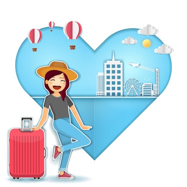 Viaggiatore di cute cartoon donna con bagagli sul cuore sfondo viaggio intorno al concetto di mondo. Vettore Premium