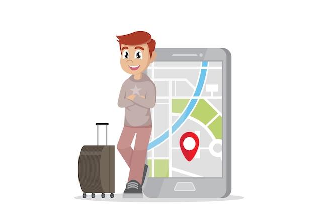 Viaggiatore e il suo smartphone per navigare. Vettore Premium