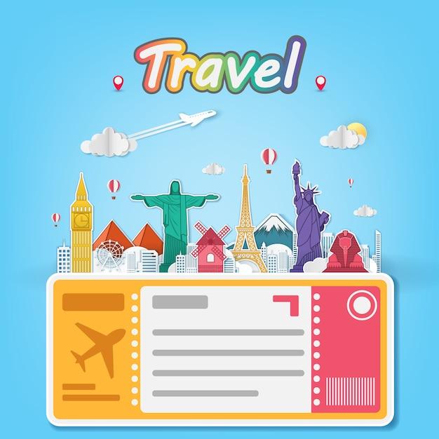 Viaggio aereo in aereo in tutto il mondo Vettore Premium