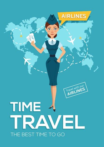 Viaggio della compagnia aerea. il periodo migliore per viaggiare. Vettore Premium