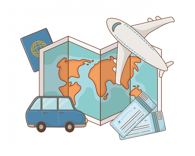 Viaggio estivo di viaggio turistico Vettore Premium