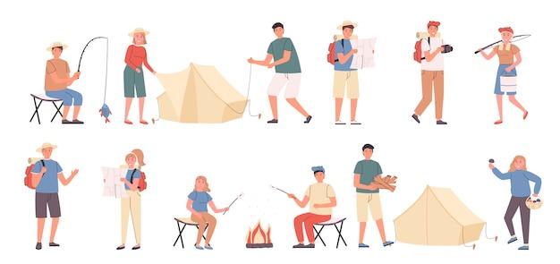 Viaggio in campeggio, tempo libero nella natura, set piatto di riposo ecologico Vettore Premium