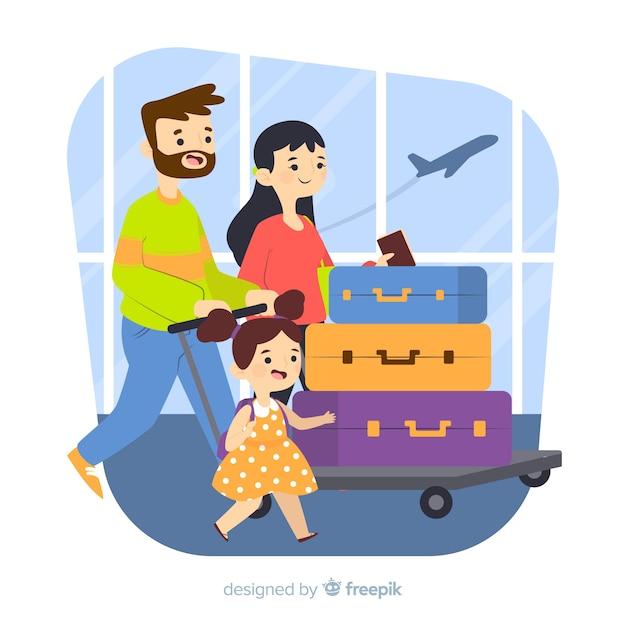 Viaggio in famiglia disegnati a mano Vettore gratuito