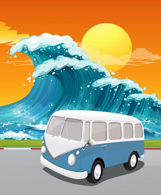 Viaggio in macchina verso l'oceano Vettore Premium