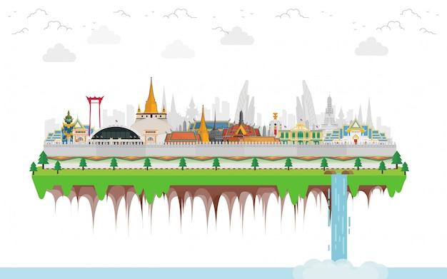 Viaggio in thailandia con punto di riferimento e luogo di viaggio e giganti guardiani Vettore Premium