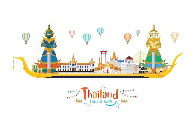 Viaggio in thailandia con punto di riferimento e luogo di viaggio e guardian giants su the royal barge suphannahong Vettore Premium