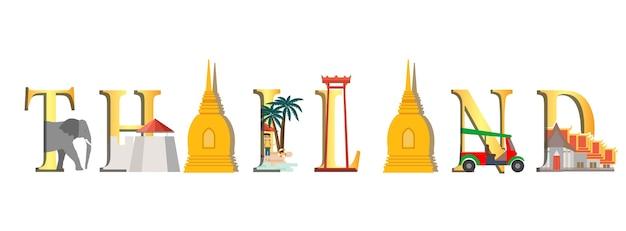 Viaggio infografica infografica di thailandia, lettering thailandia e monumenti famosi Vettore Premium