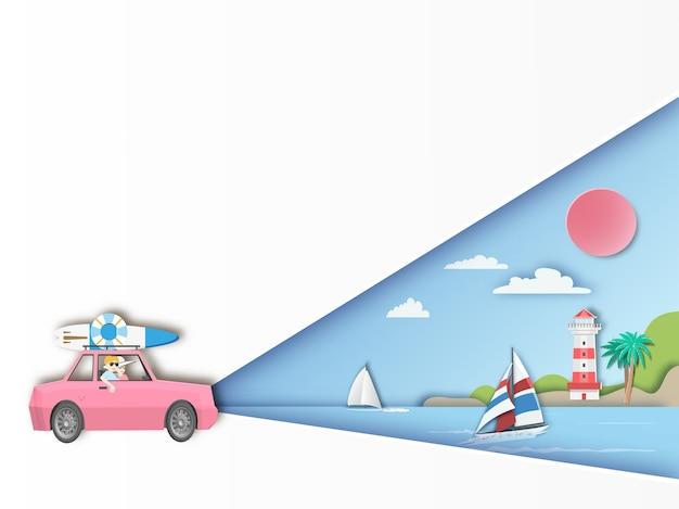 Viaggio su strada per viaggiare su sfondo spiaggia Vettore Premium