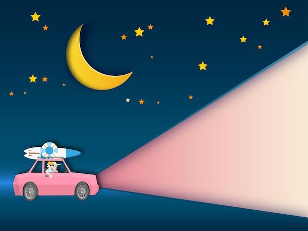 Viaggio su strada per viaggiare sullo sfondo di notte Vettore Premium
