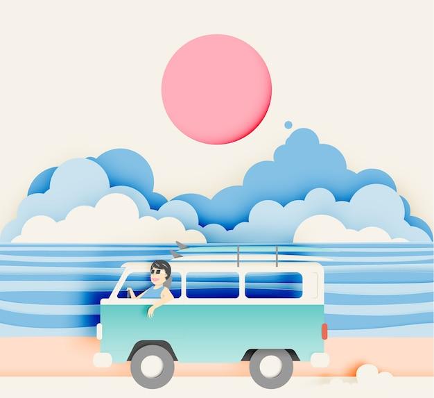 Viaggio su strada sulla spiaggia con stile di arte di carta e combinazione di colori pastello illustrazione vettoriale Vettore Premium