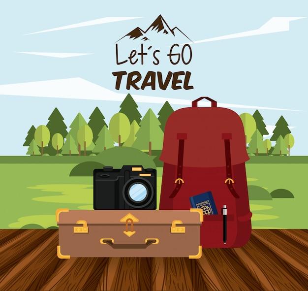 Viaggio viaggio e icona del turismo Vettore gratuito