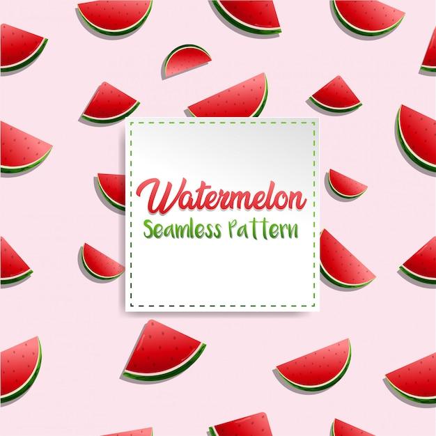 Vibe realistico fresco di estate del reticolo dell'anguria con priorità bassa dentellare Vettore Premium