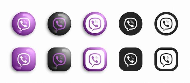 Viber 3d moderno e set di icone piatte Vettore Premium