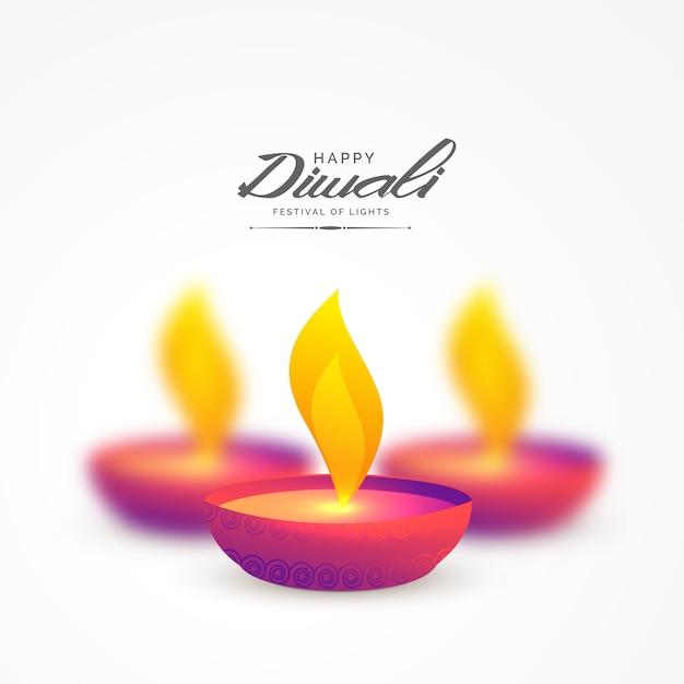 vibrante diya colorato per sfondo di diwali Vettore gratuito