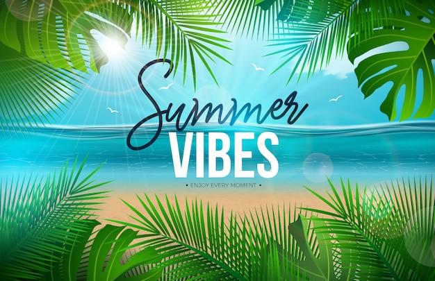 Vibrazioni estive con foglie di palma e paesaggio dell'oceano Vettore Premium