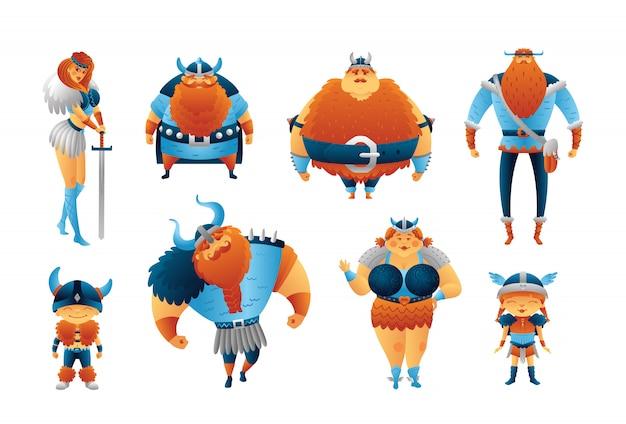 Vichinghi set di personaggi dei cartoni animati. uomini, donne, bambini scandinavi. raccolta illustrazione carino isolato. Vettore Premium