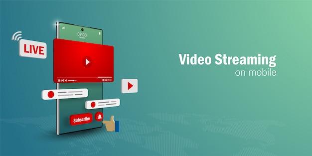 Video live streaming concept, guarda e vivi uno streaming video su smartphone con i social media Vettore Premium