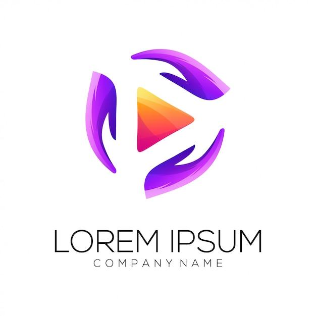 Video mani logo design vettoriale Vettore Premium