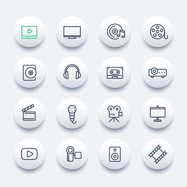 Video, set di icone audio, stile lineare Vettore Premium
