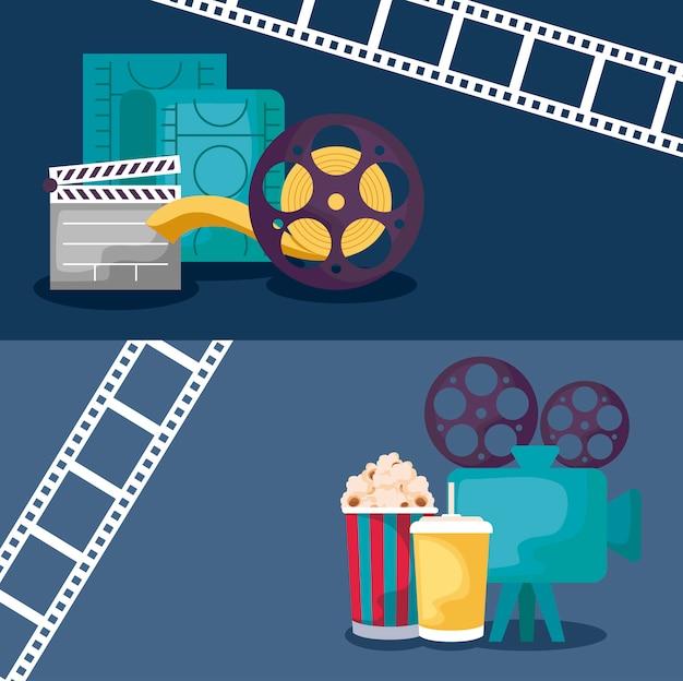 Videocamera con set di icone cinema Vettore Premium