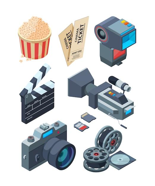 Videocamere isometriche. Vettore Premium