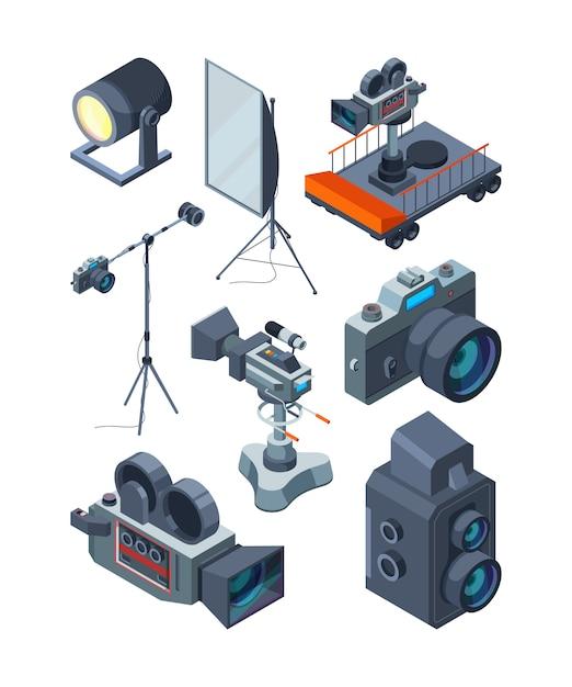 Videocamere. varie attrezzature di video o studio fotografico Vettore Premium
