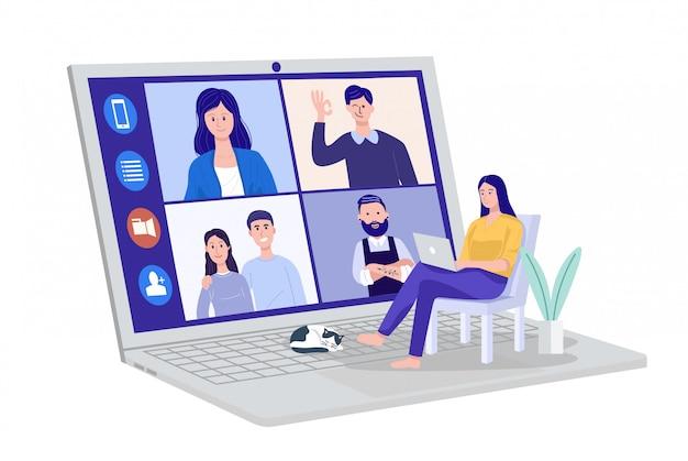 Videoconferenza a casa, donna che ha una videochiamata che incontra i clienti a casa. vettore Vettore Premium