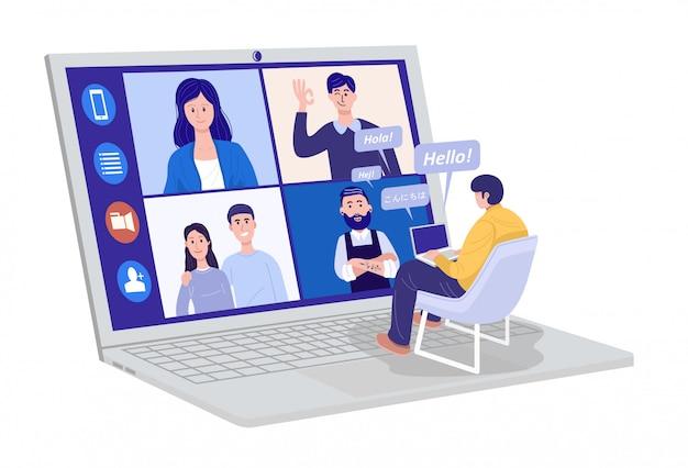 Videoconferenza a casa, uomo che ha una videochiamata con i clienti a casa. saluto i messaggi in diverse lingue scritte. Vettore Premium