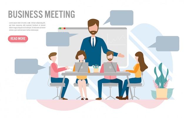 Videoconferenza nel concetto di ufficio Vettore Premium