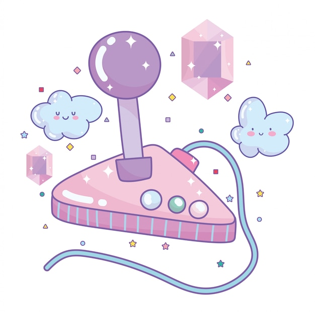 Videogioco joystick gemme intrattenimento gadget dispositivo fumetto elettronico Vettore Premium