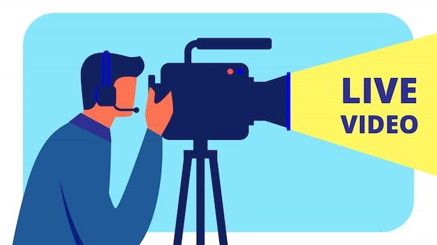 Videografo in cuffia realizza video in diretta Vettore Premium