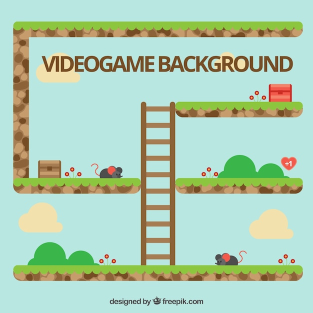 Videojuego de plataformas con una escalera Vettore gratuito
