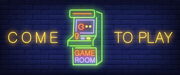 Vieni a giocare, testo di gioco in neon con videogioco arcade Vettore gratuito