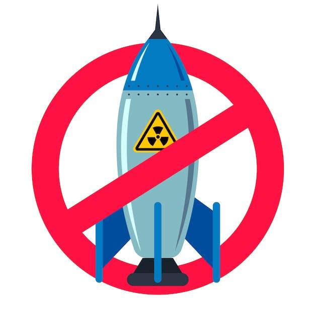 Vietare le armi nucleari. segno rosso proibito. vita pacifica. bomba di ferro. illustrazione piatta vettoriale Vettore Premium